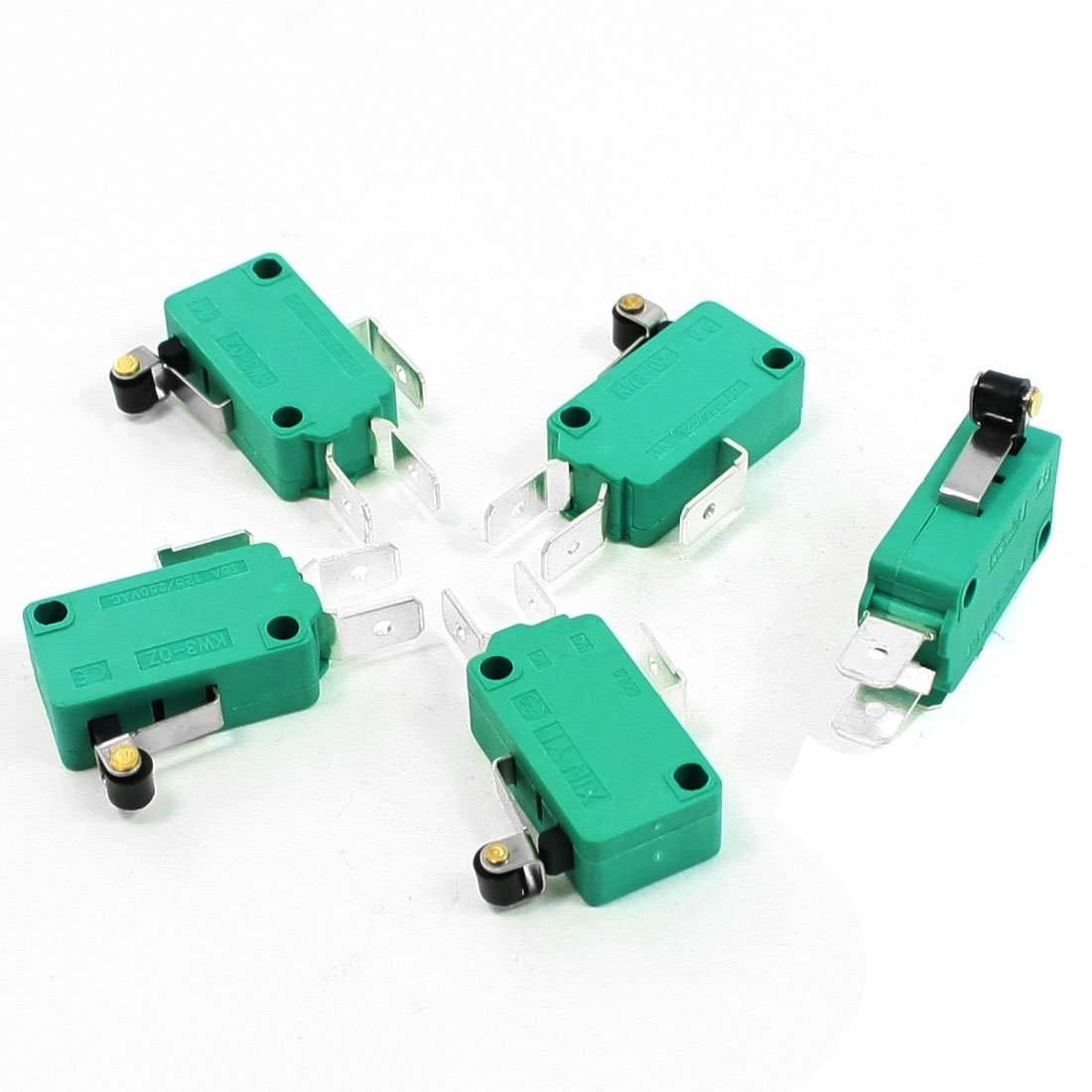 5 Pcs AC 250V 16A SPDT 3 Terminals Short Hinge Roller Lever Limit Micro Switch Green