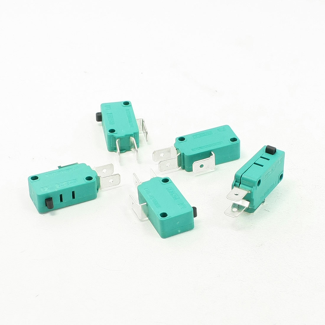 5 Pcs AC 250V 16A SPDT 3 Terminals Momentary Push Button Micro Switch Green