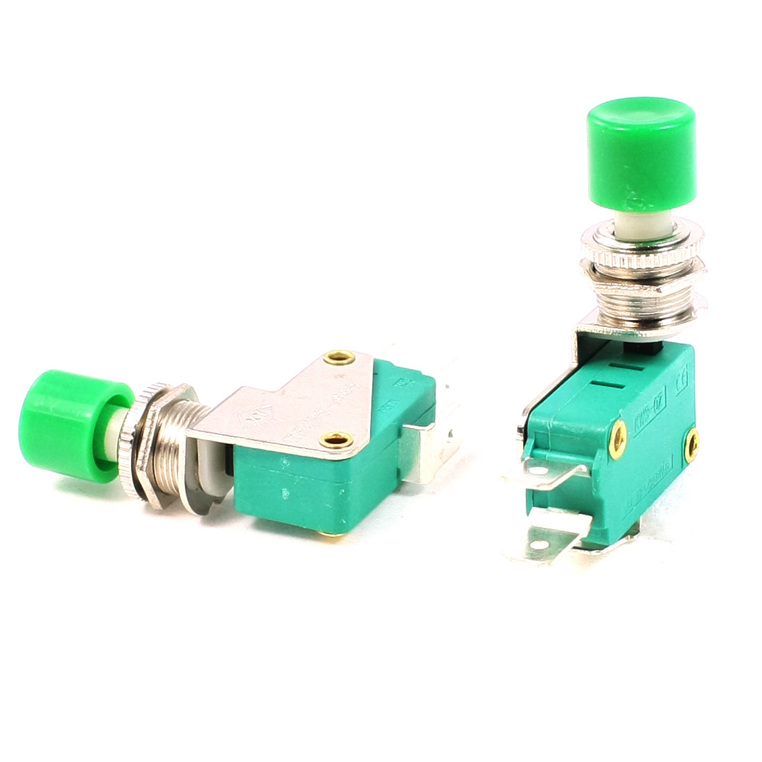 2 Pcs SPDT 1NO 1NC Green Button Actuator Momentary Miniature Micro Switch