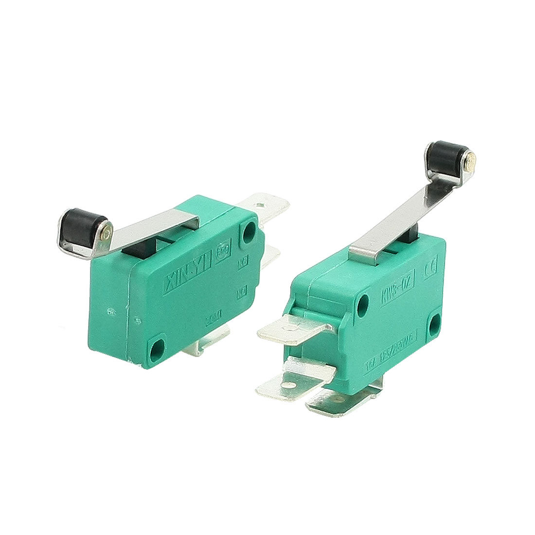 2 Pcs AC 250V 16A SPDT 3 Terminals Long Hinge Roller Lever Limit Micro Switch Green