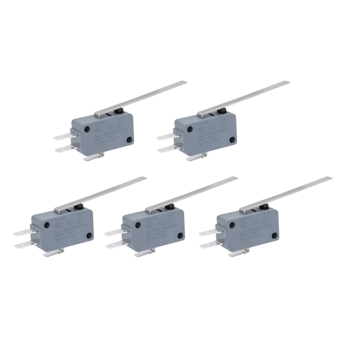 5 Pcs AC 250V 16A SPDT Long Straight Hinge Lever Mini Limit Micro Switch Green