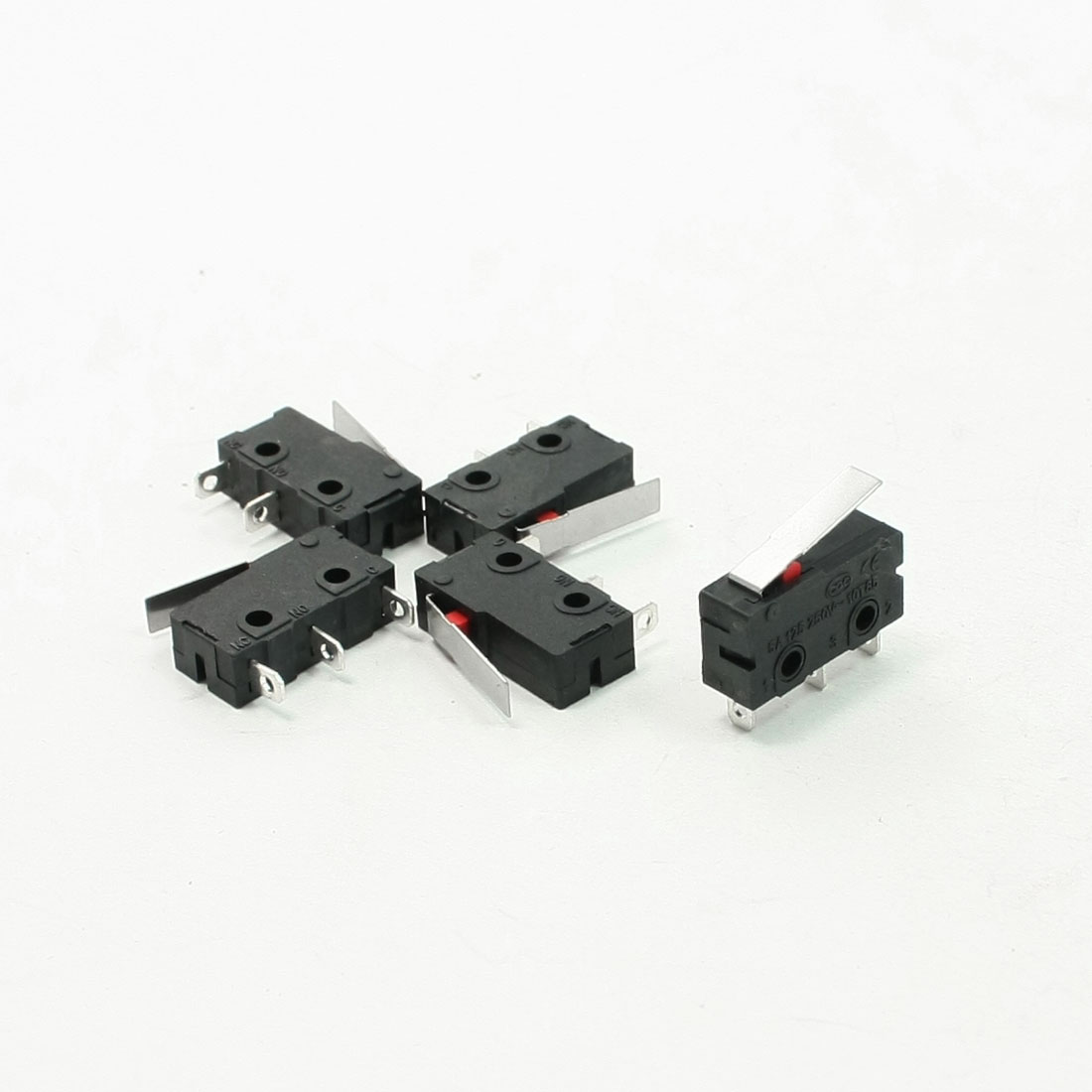 5 Pcs AC 125V 5A SPDT Short Straight Hinge Lever Miniature Micro Limit Switch