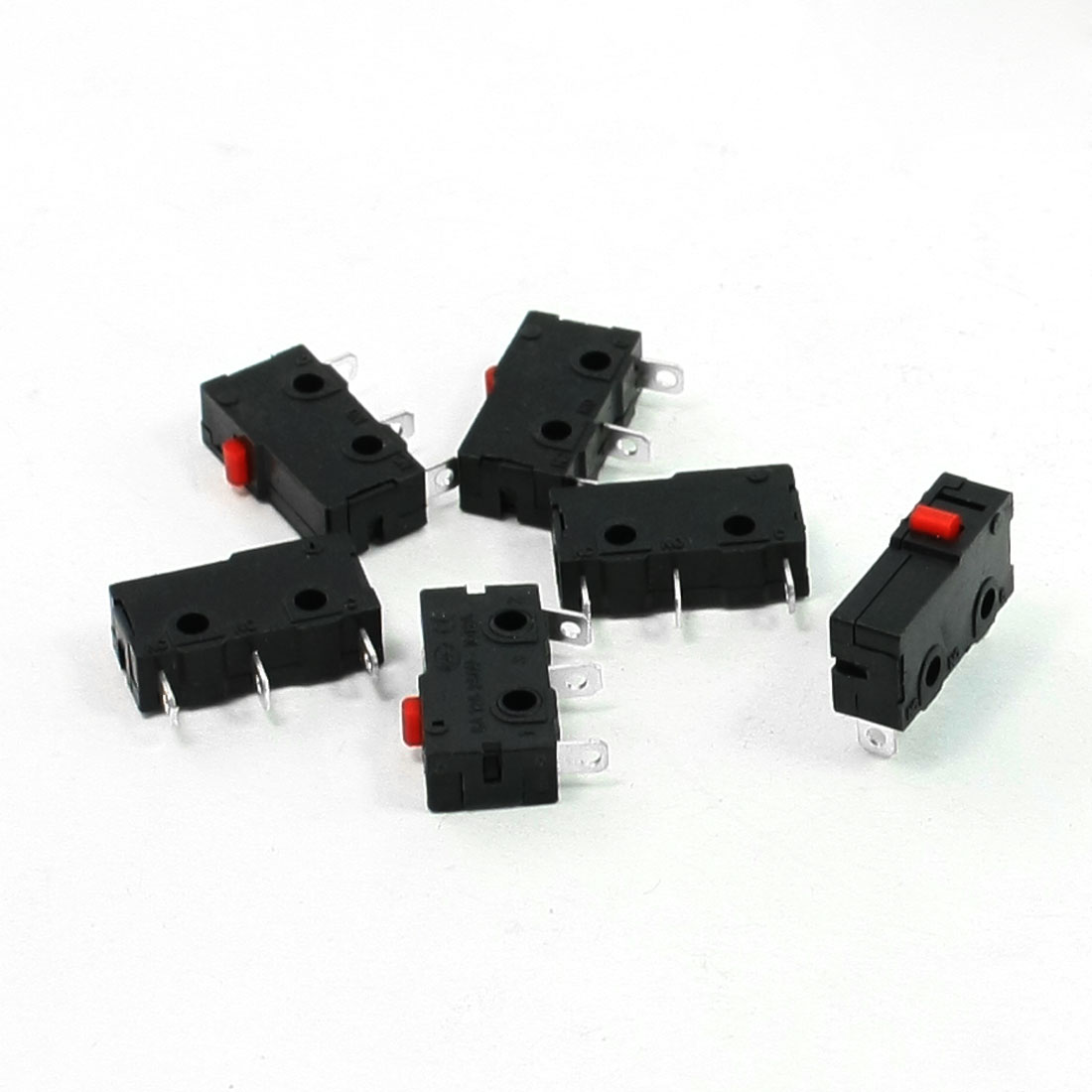 5 Pcs AC 125V 5A SPDT 3 Pins Red Push Button Actuator Miniature Micro Switch