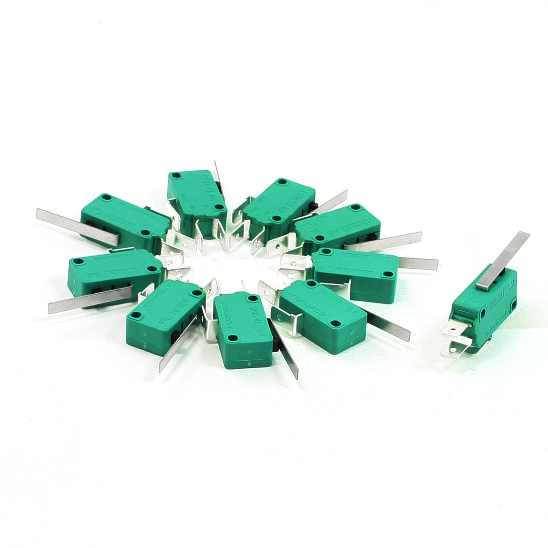 10 Pcs AC 250V 16A SPDT Short Straight Hinge Lever Mini Micro Switch Green