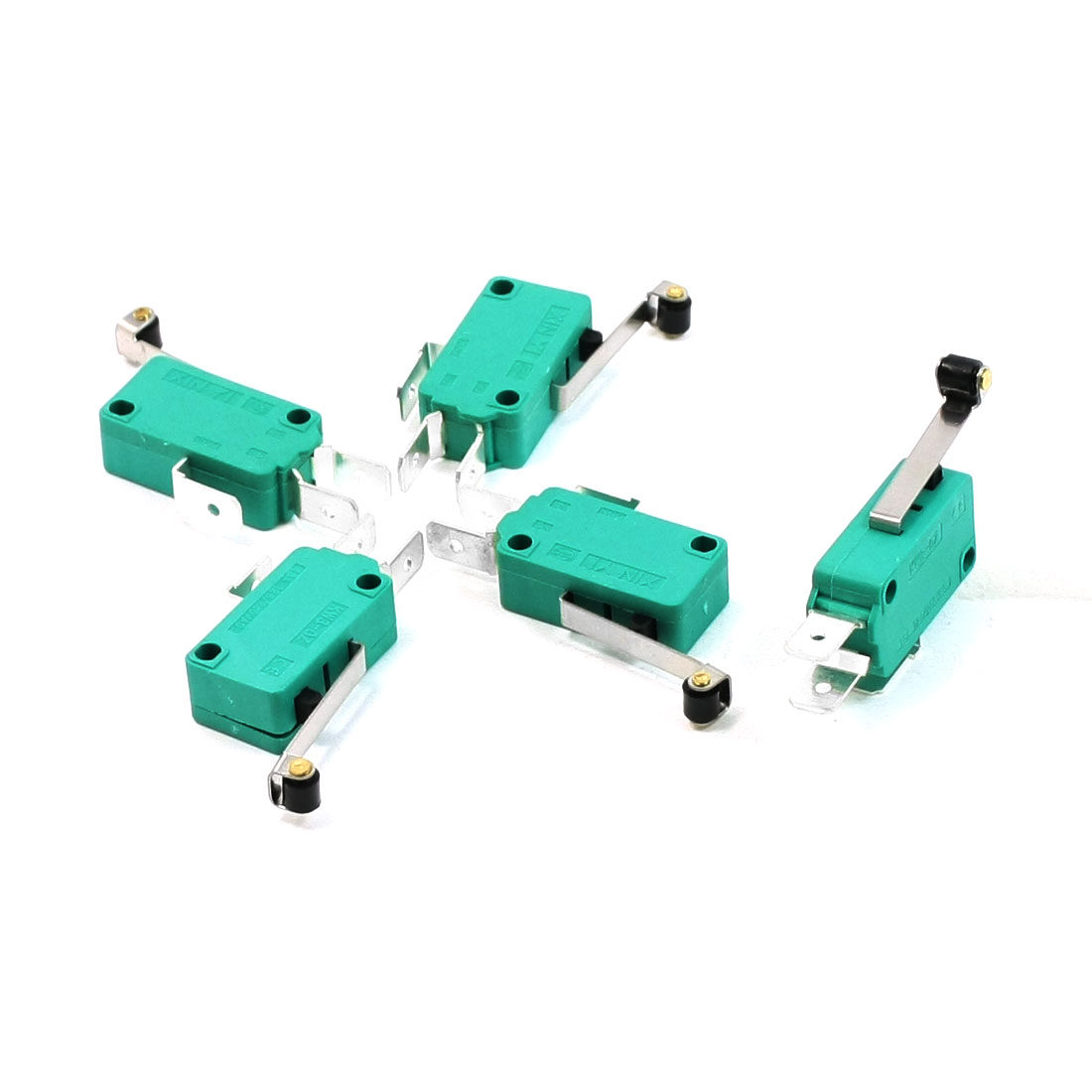 5 Pcs AC 250V 16A SPDT Long Hinge Roller Lever Miniature Micro Switch Green