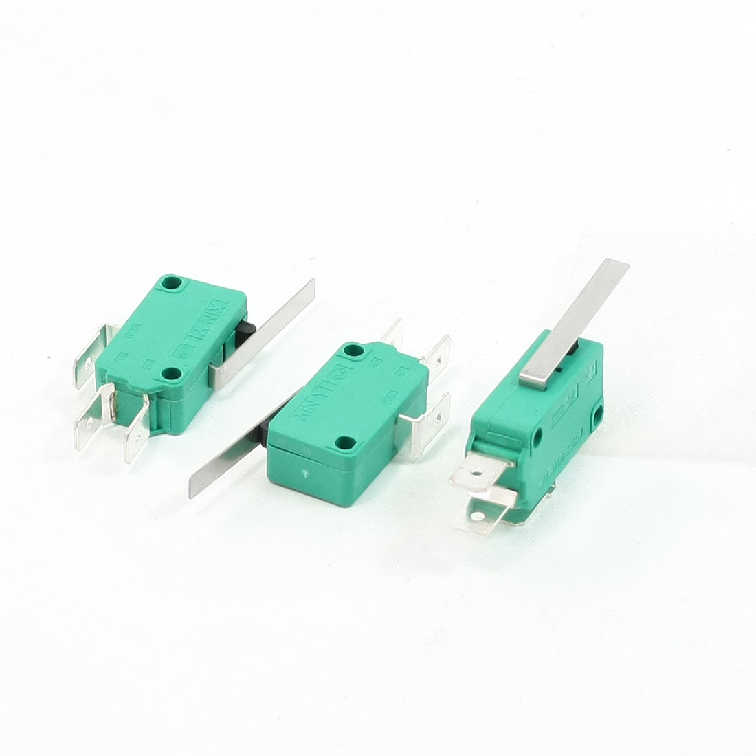 3 Pcs AC 250V 16A SPDT 3-Terminal Short Straight Hinge Lever Mini Micro Switch Green