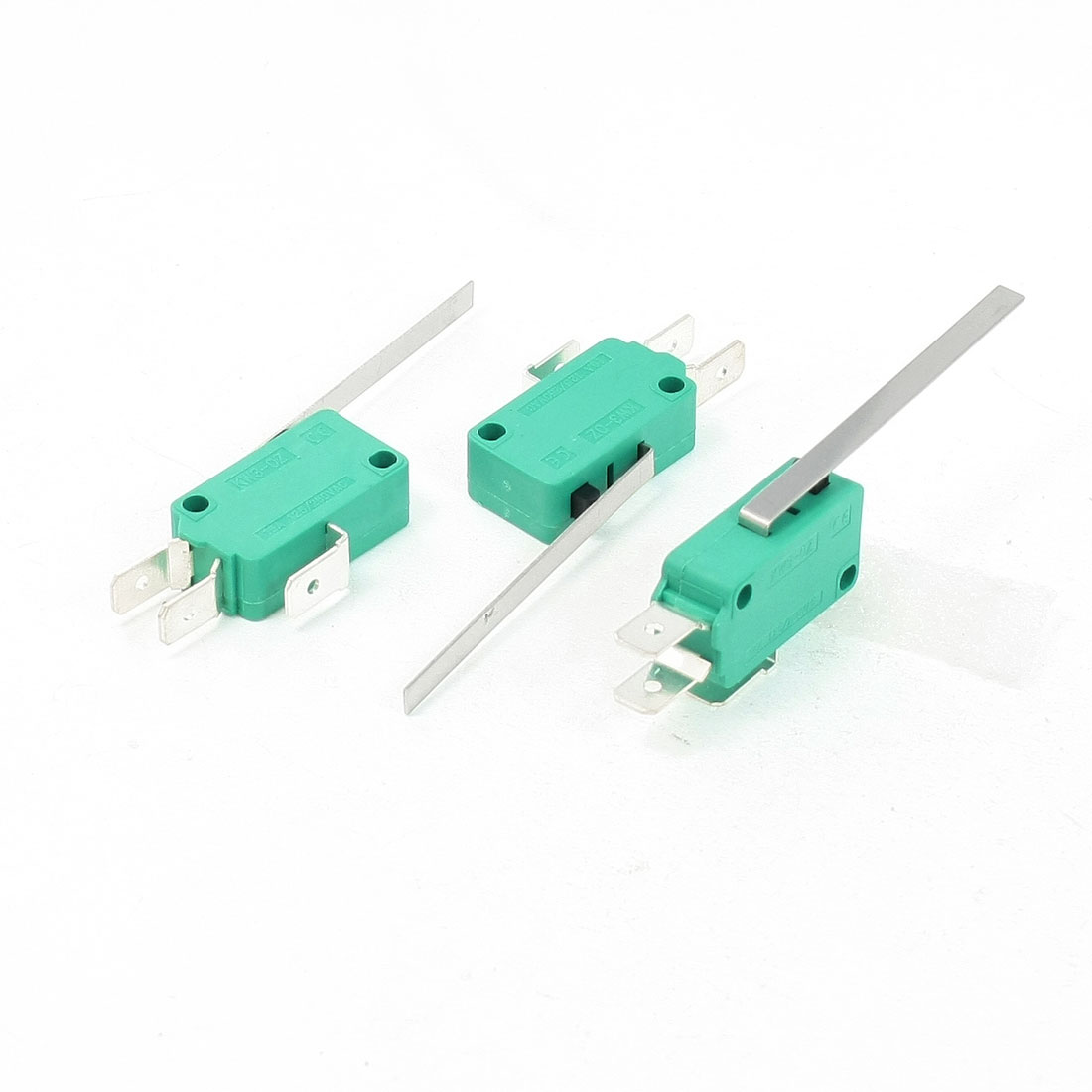 3 Pcs AC 250V 16A SPDT Long Straight Hinge Lever Miniature Micro Switch Green