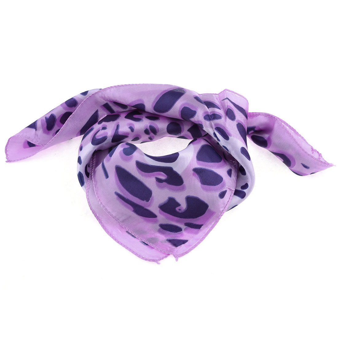 Purple Leopard Pattern Square Shaped Neck Neckchief for Lady