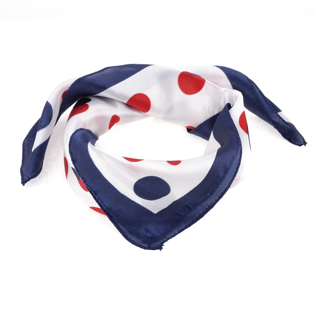Office Lady Circles Print Magic Scarf Neckerchief Dark Blue Red White
