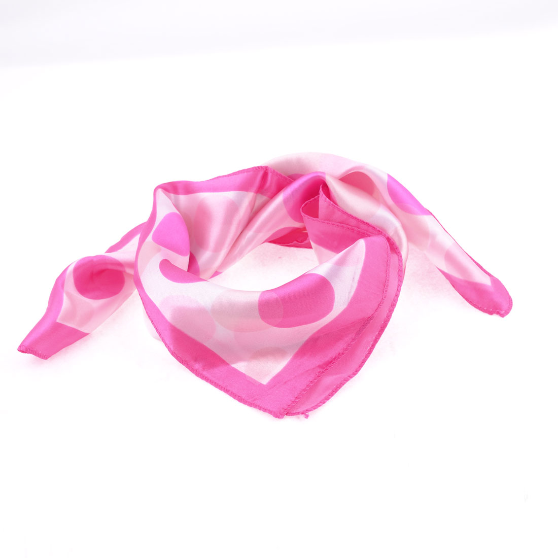 Rose Pink White Circle Pattern Polyester Magic Scarf Wrap Neckerchief