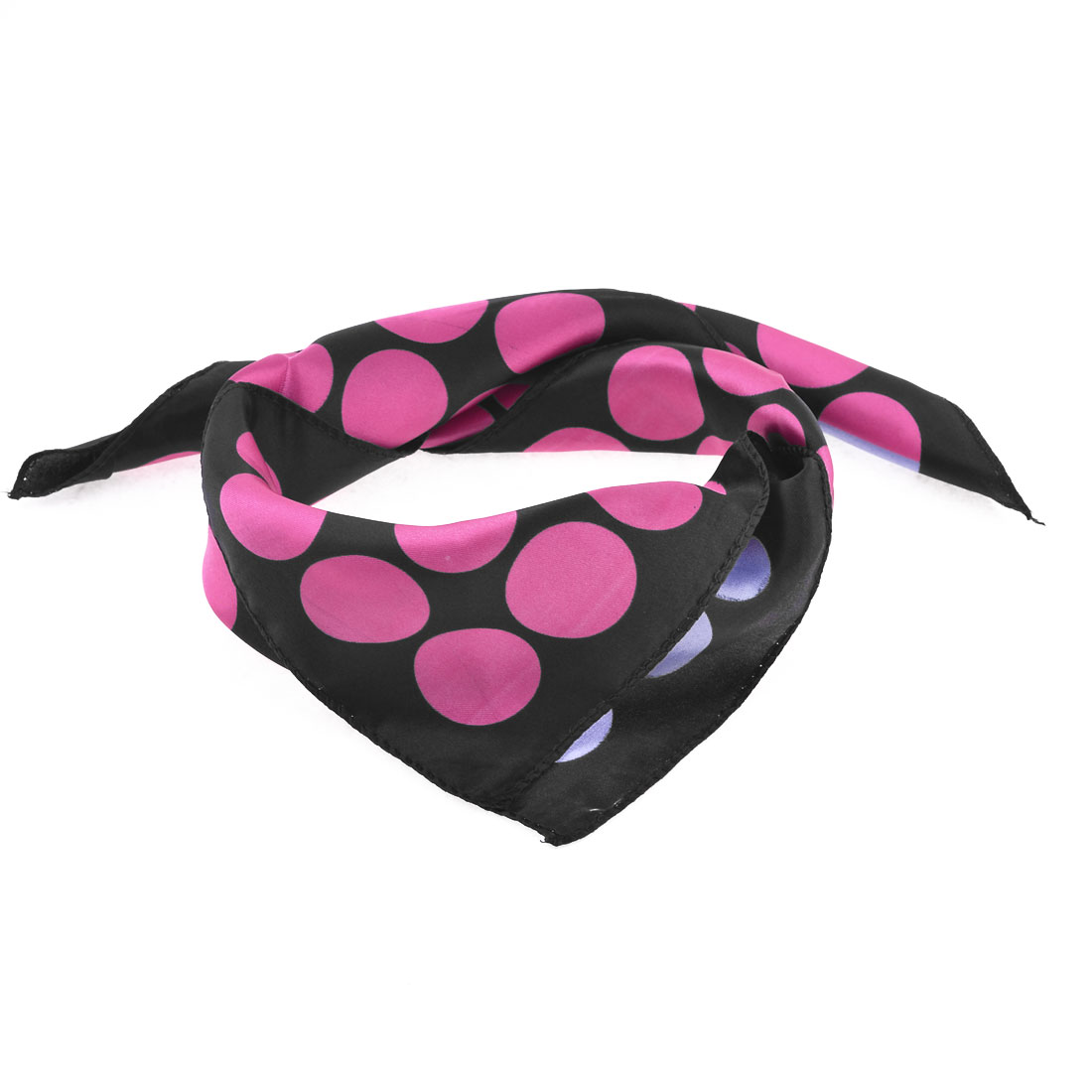 Woman Pink Purple Round Circle Pattern Neck Scarf Neckerchief Black