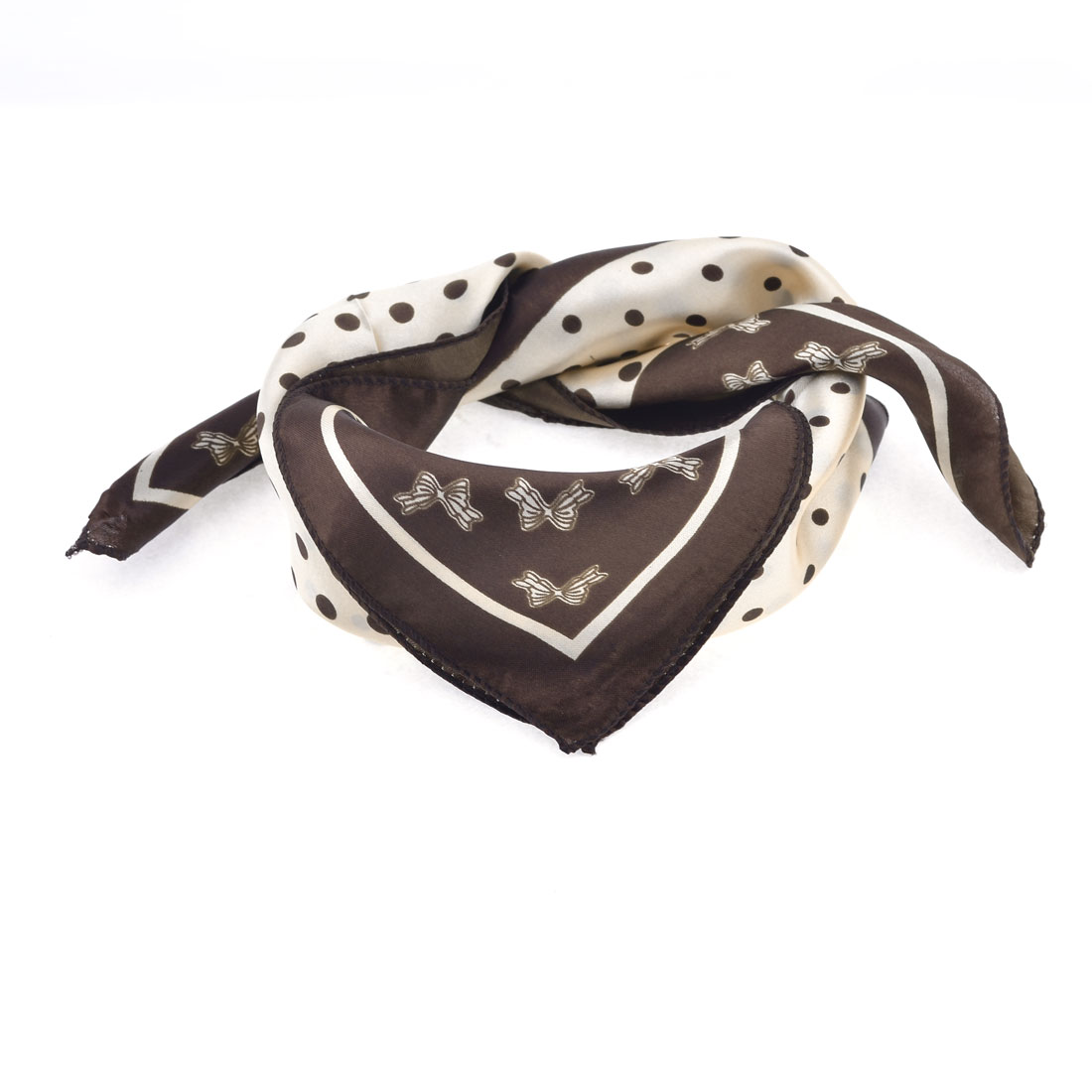 Beige Brown Dot Butterfly Pattern Square Shaped Neck Scarf Neckerchief