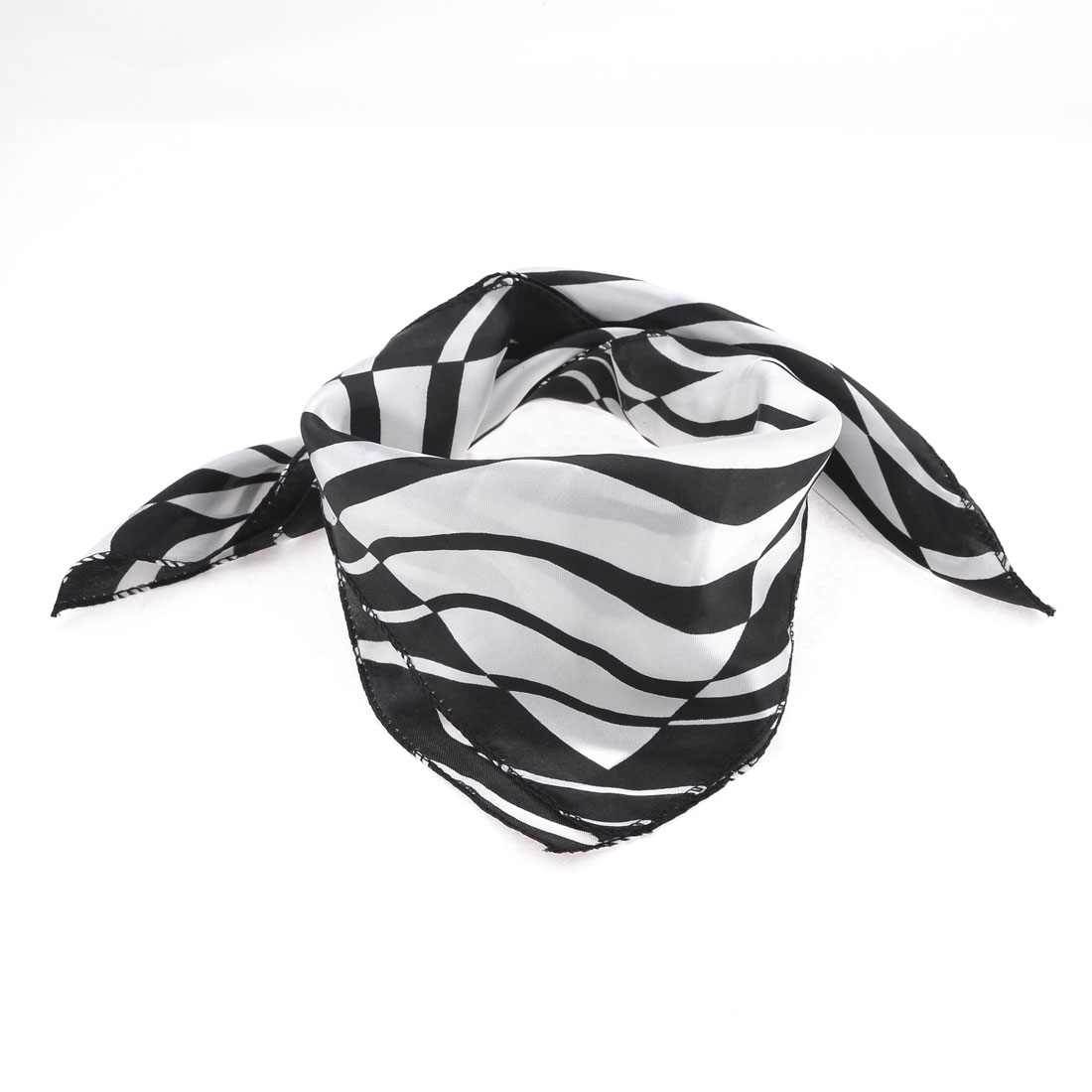 Office Lady Wave Pattern Polyester Magic Scarf Wrap Neckerchief White Black