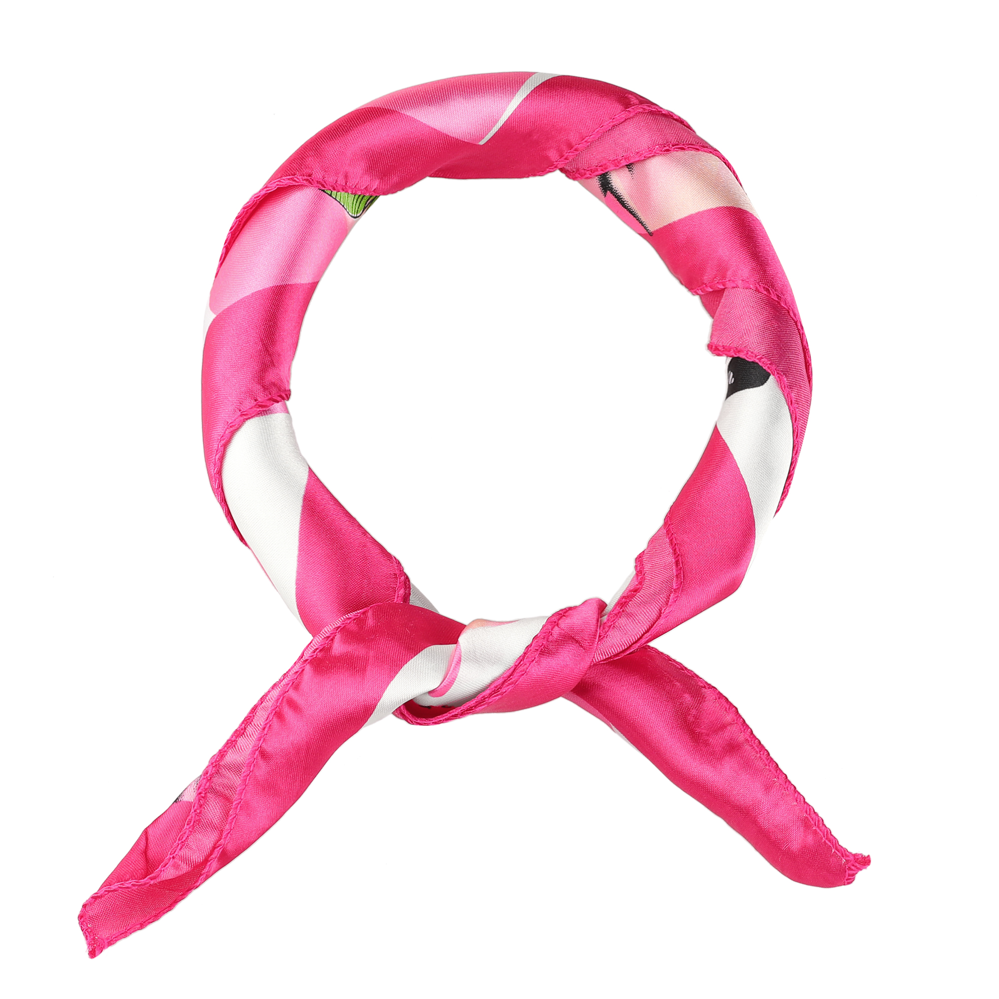 Pink Green Flower Butterfly Pattern Polyester Magic Scarf Wrap Neckerchief