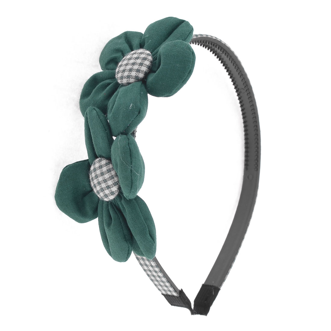 Green White Grid Pattern Floral Accent Hair Hoop for Girl