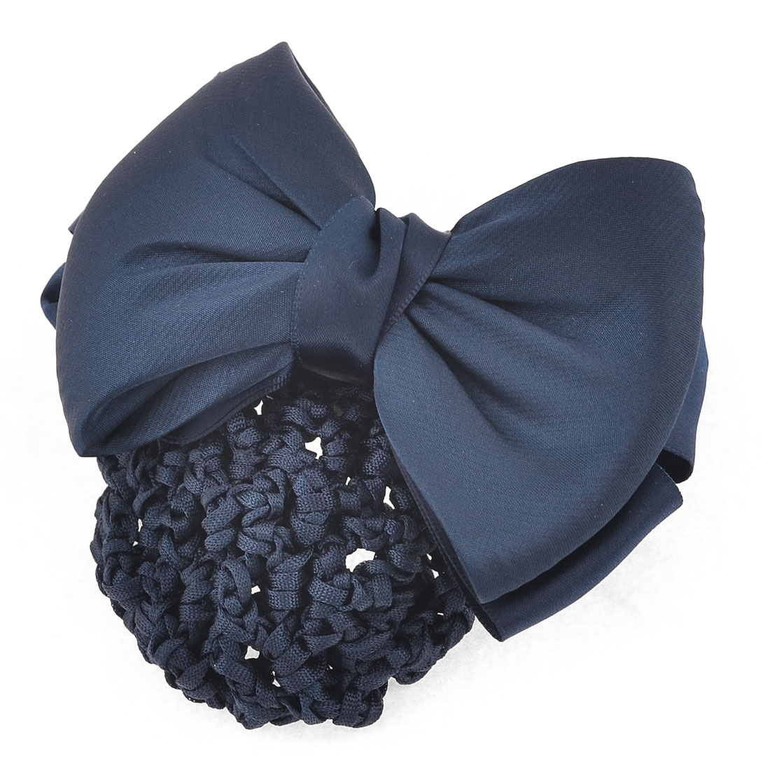 Dark Blue Two Layers Polyester Bowknot Snood Net Barrette Hair Clip for Women