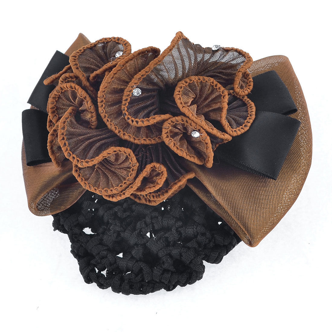 Lady Coffee Color Black Polyester Bowknot Hairnet Metal Barrette Hair Clip