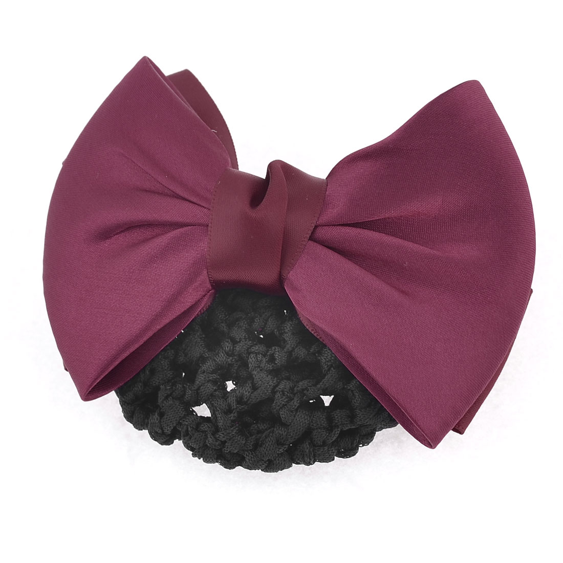 Lady Two Layers Burgundy Bowknot Decoration Hair Clip w Black Hairnet