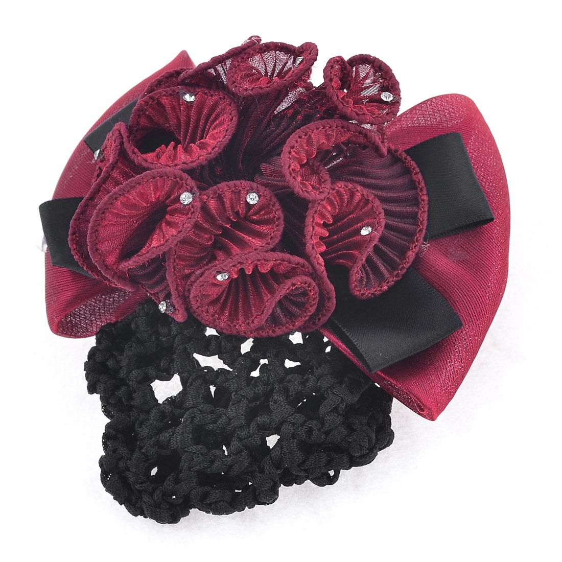 Rhinestone Detail Burgundy Black Bowtie Decor Hairclip w Hairnet for Women