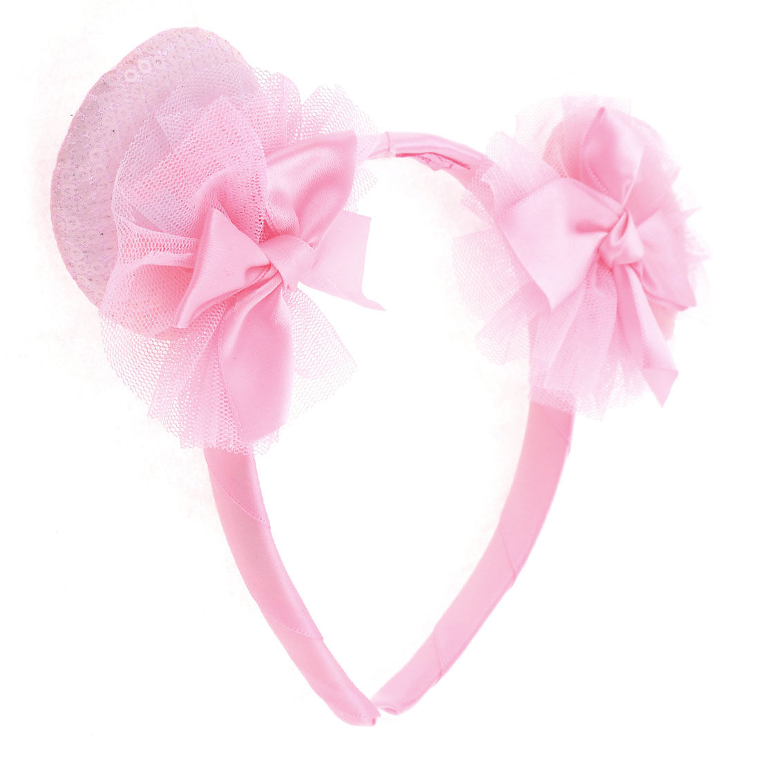 Pink Girls Bowknot Detail Nylon Covered Plastic Headband Hair Hoop