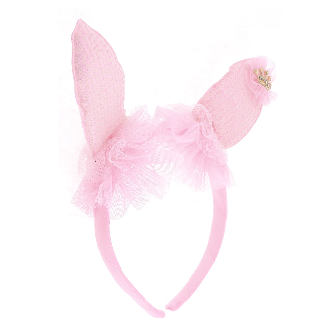 Rabbit Ear Detail Coated Polyester Hair Hoop Headband Pink for Girl