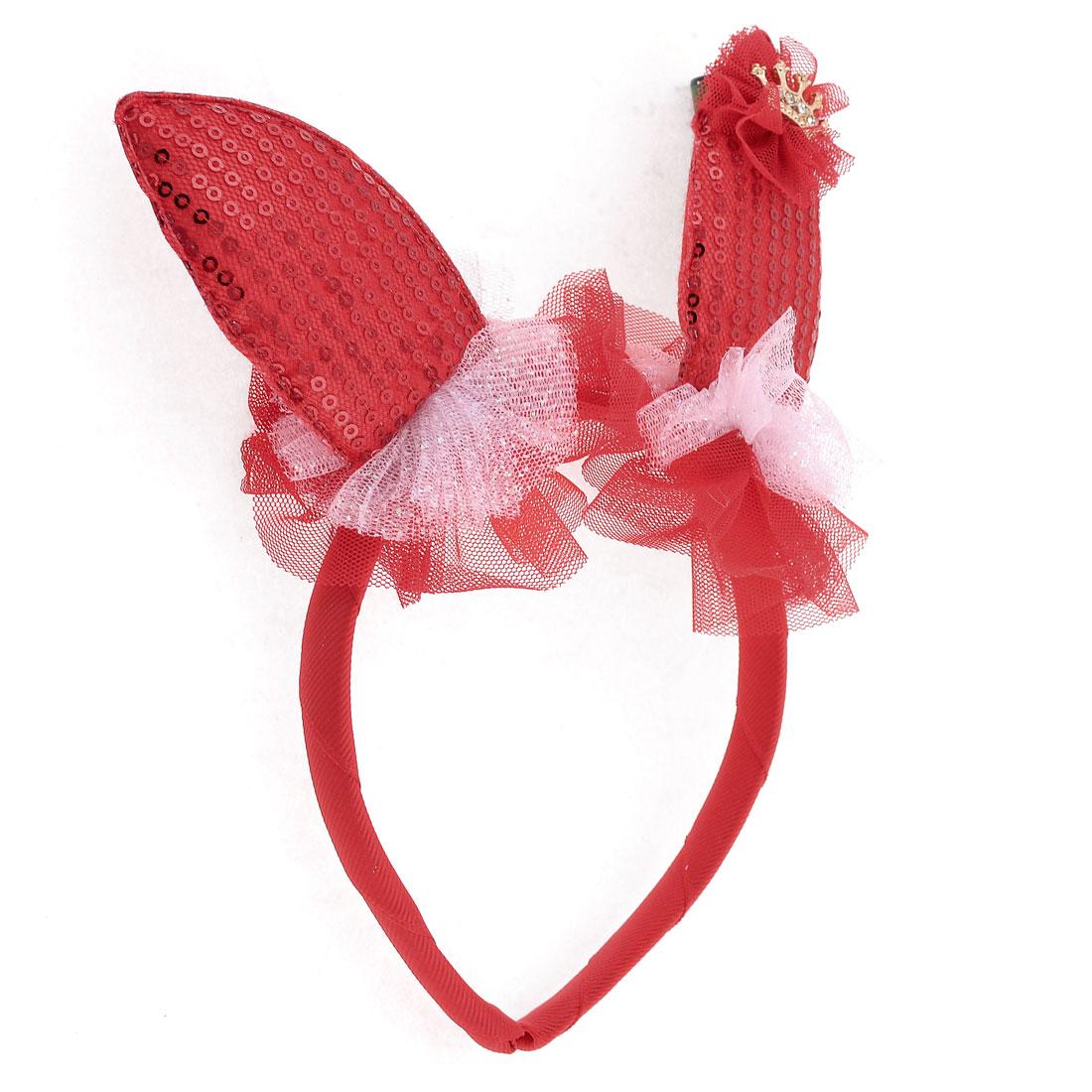"""Mesh Rabbit Ear Detailing Hair Hoop Headband Red 0.6"""" for Girl"""