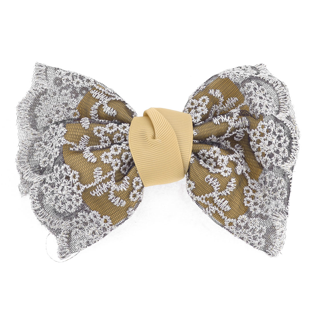 Embroidered Lace Bowknot Ponytail Barrette Hair Clip Clasp Beige