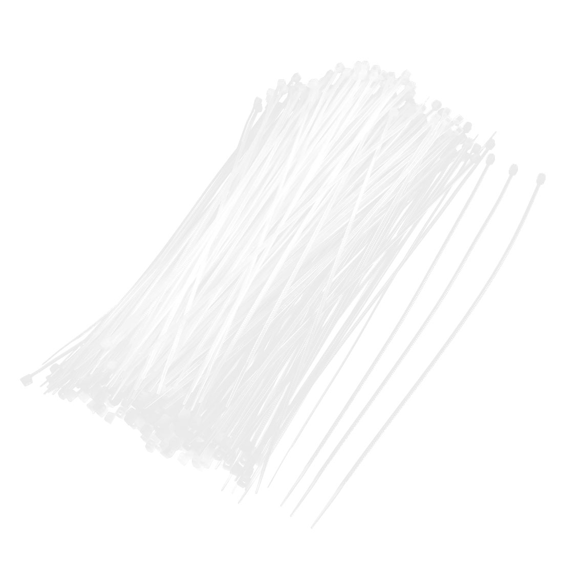 500 Pcs 2x200mm Locking Nylon Fastener Pack Cable Zip Tie Teeth Grip White