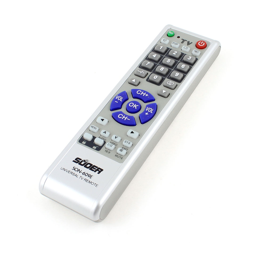 "Batteries Powered Universal TV Remote Control Gray 6.3"" Length"