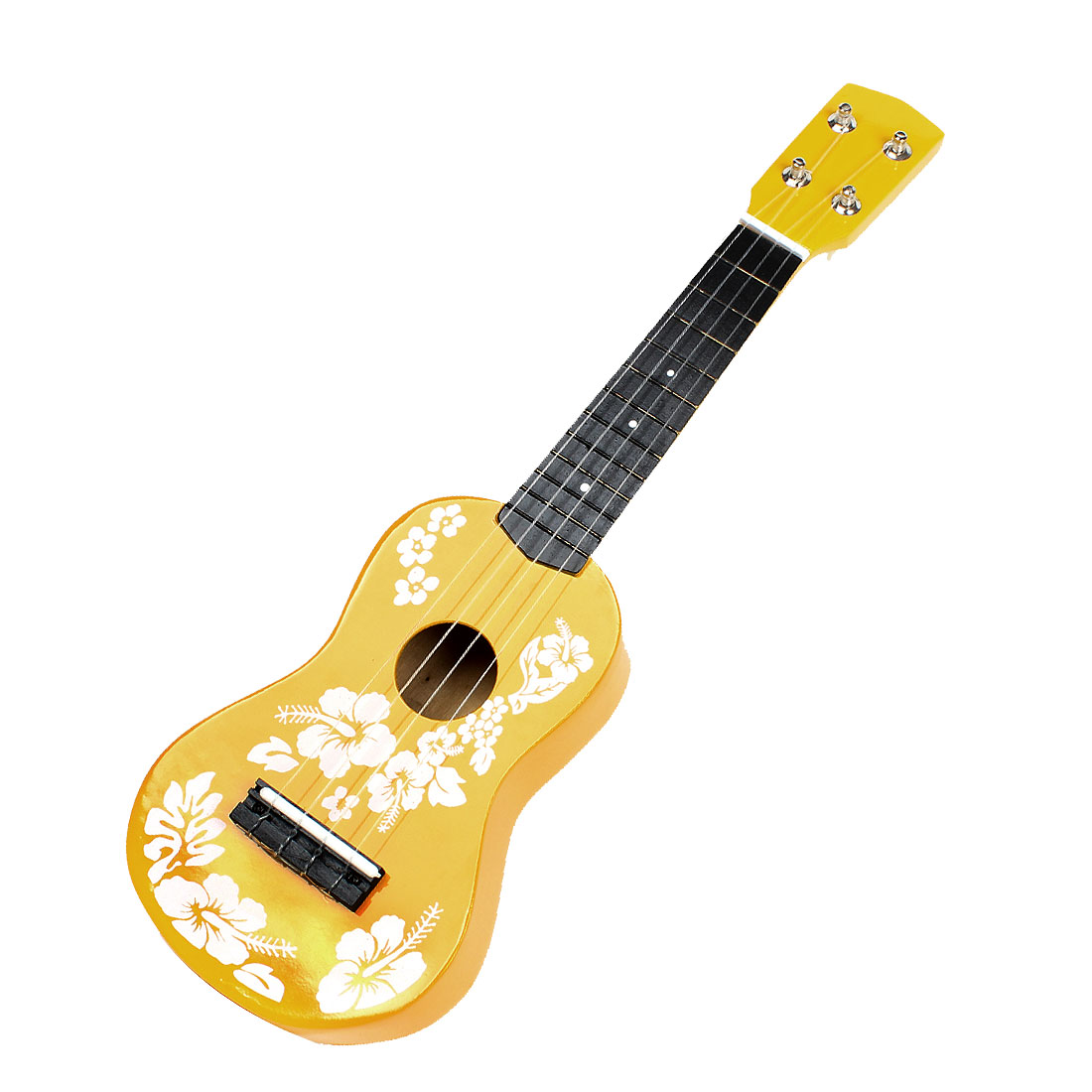 Child Plastic Strings Flowers Pattern Wooden Acoustic Guitar Ukulele Toy Yellow White