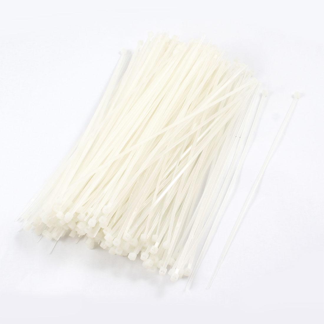 500 Pcs 3x180mm Locking Nylon Fastener Pack Cable Zip Tie Teeth Grip White