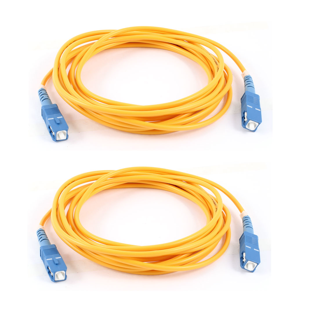 2 Pcs Simplex Single Mode SC to SC Fiber Optic Patch Jump Cable Yellow 3 Meters