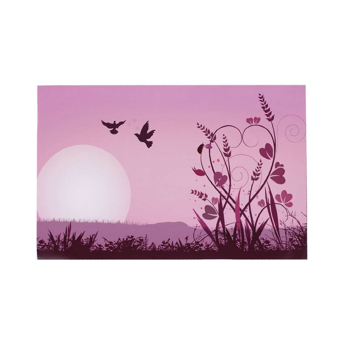 "Flower Swirl Grass Bird Sun Pink Decorative Sticker Decal for 14"" Laptop PC"
