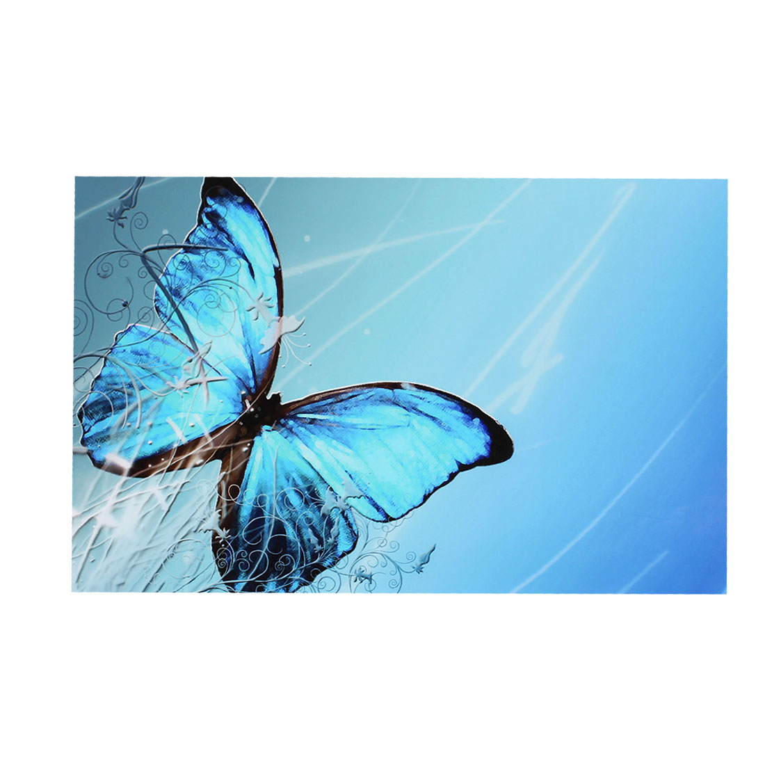 "Sky Blue Butterfly Flower Swirl Decorative Sticker Decal for 14"" Laptop PC"