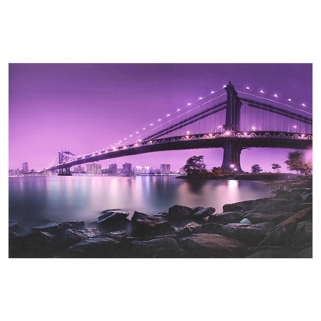 """Manhattan Bridge at Night Dark Purple Decorative Sticker Decal for 14"""" Laptop"""