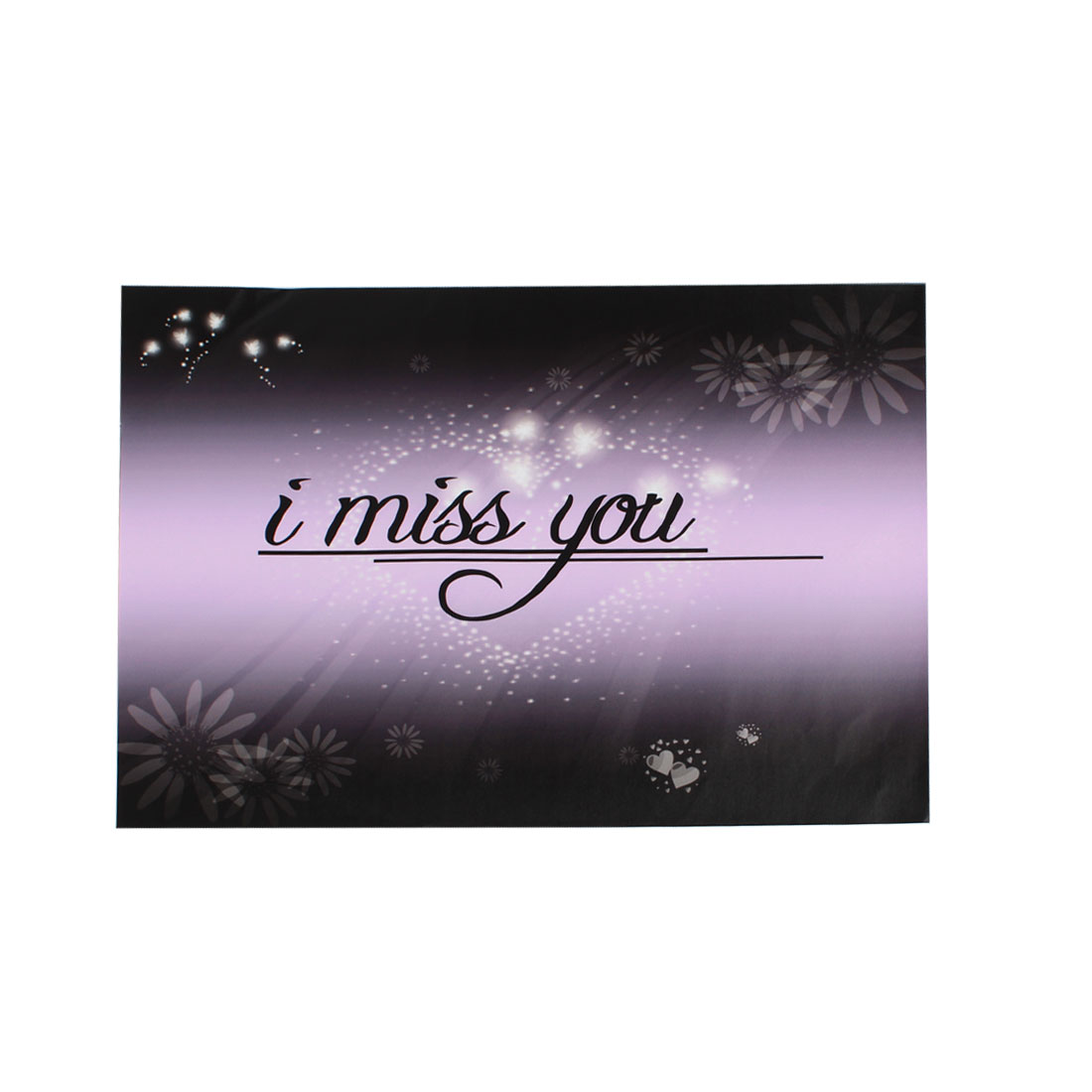 "Love Heart I Miss You Light Purple Black Decorative Sticker Decal for 14"" Laptop"