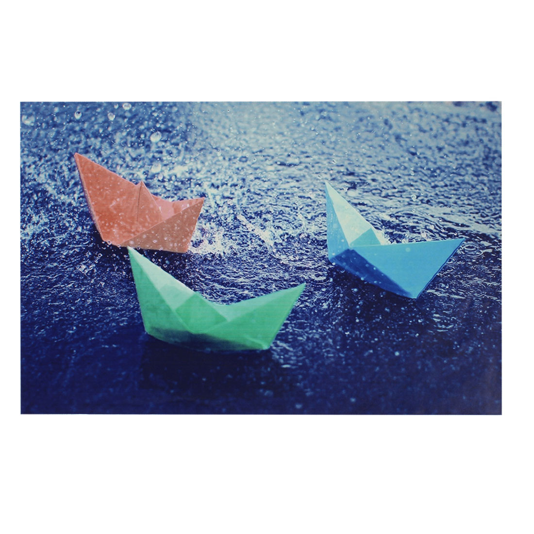 "Tri Color Paper Boat Rain Water Blue Decorative Sticker Decal for 14"" Laptop PC"
