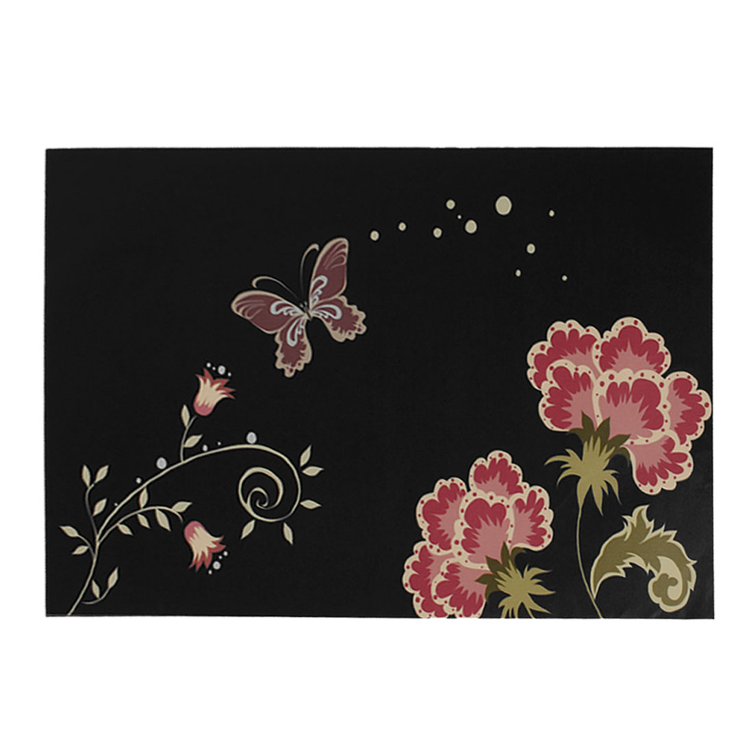 "Red Beige Flower Butterfly Black Decorative Sticker Decal for 14"" Laptop PC"