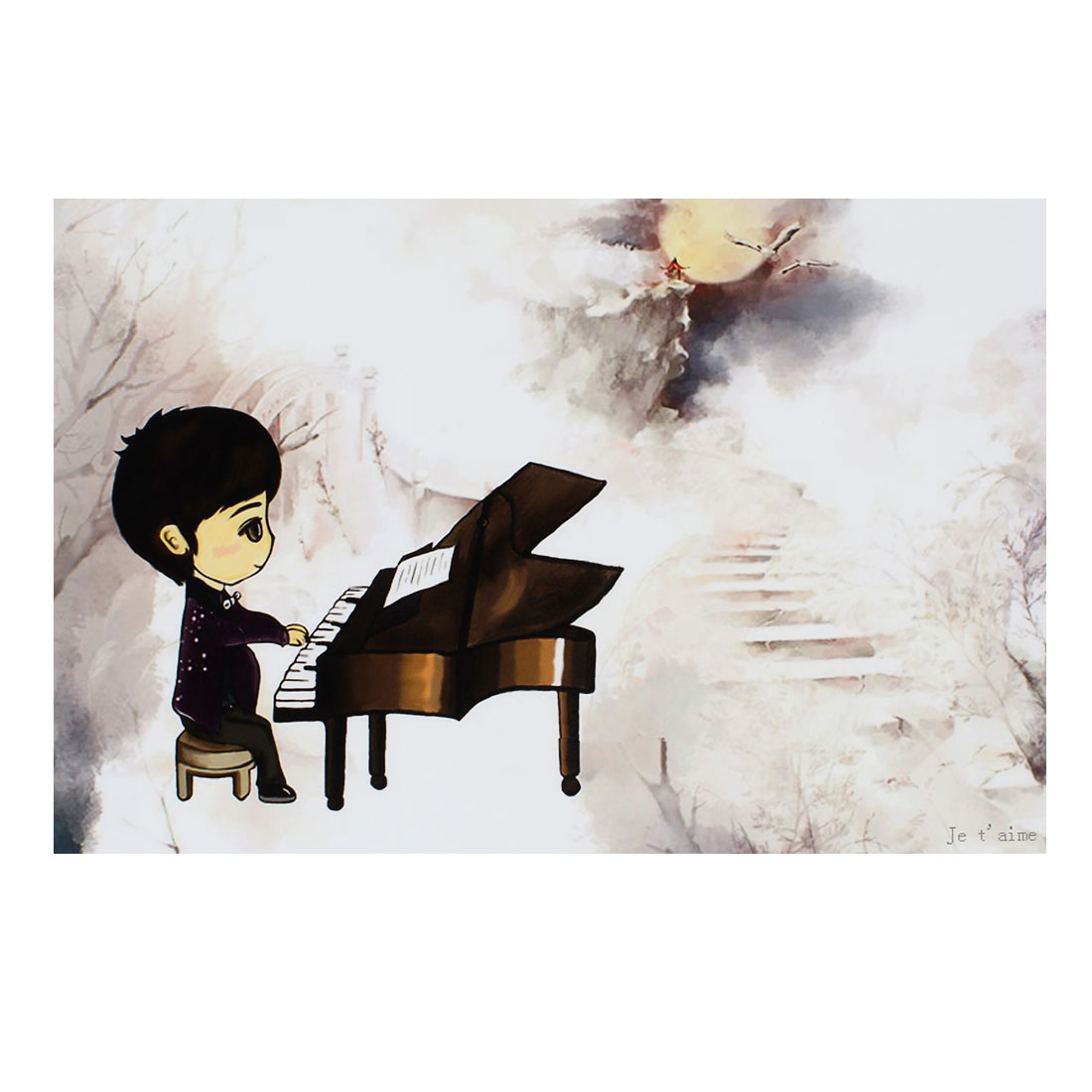 "Cartoon Boy Play Piano Light Gray Decorative Sticker Decal for 14"" Laptop PC"