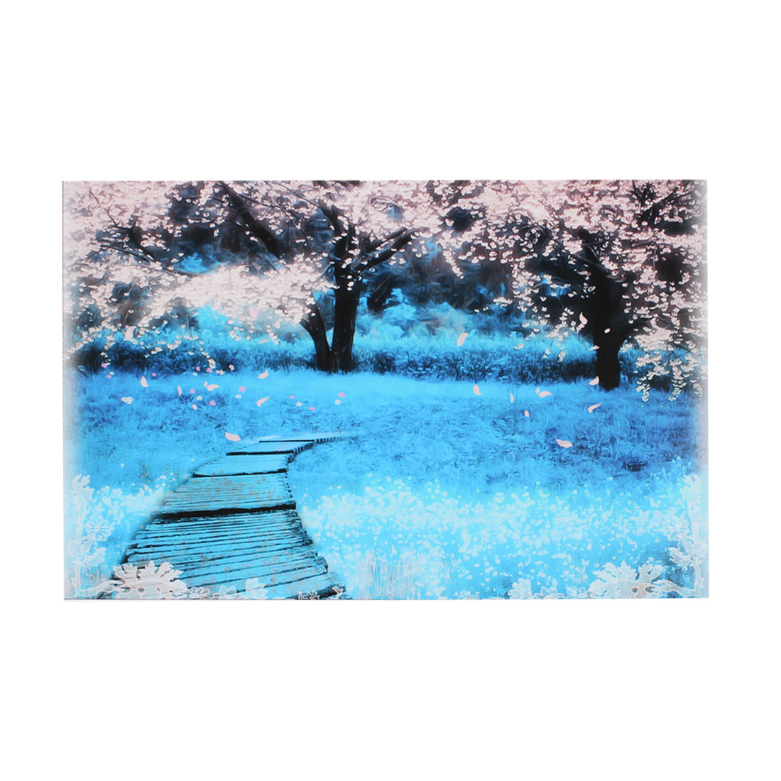 "Flowering Tree Pathway Baby Blue Decorative Sticker Decal for 14"" Laptop PC"