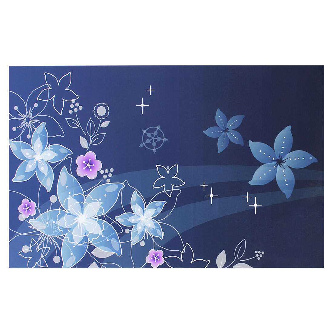 "Dark Blue Five Petal Flower Pattern Decorative Sticker Decal for 14"" Laptop PC"
