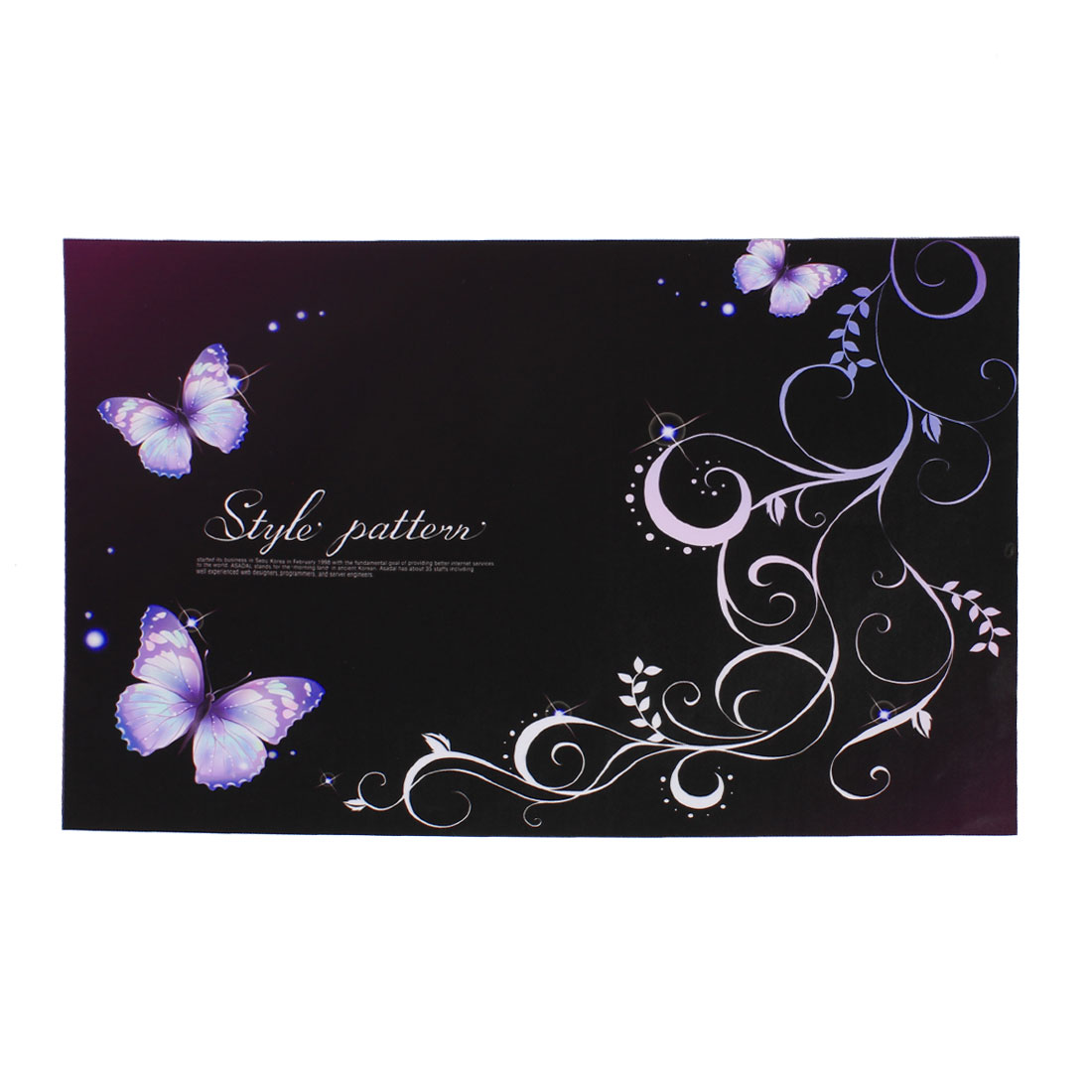 "Purple Butterfly Swirl Dots Black Decorative Sticker Decal for 14"" Laptop PC"