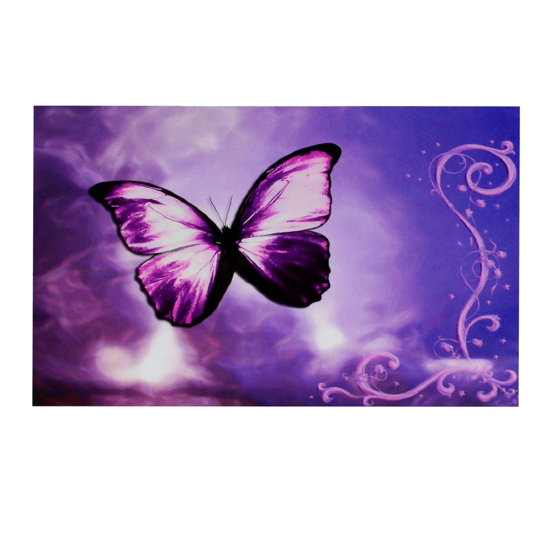 "Purple Butterfly Flower Swirl Decorative Sticker Decal for 14"" Laptop PC"