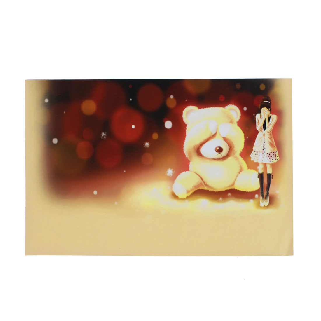 "Anime Girl Cartoon Bear Beige Burgundy Decorative Sticker Decal for 14"" Laptop"