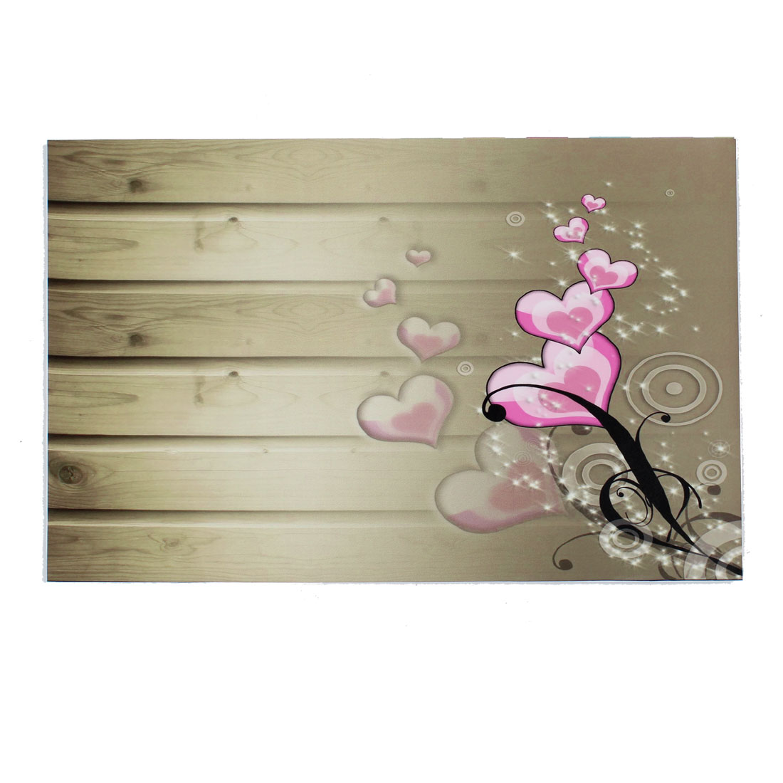 "Pink Heart Flower Pattern Khaki Decorative Sticker Decal for 14"" Laptop PC"