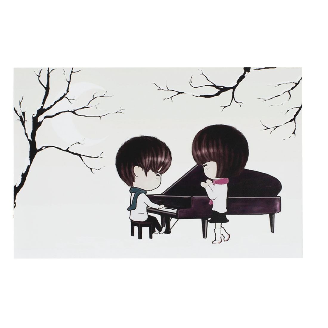 "Cartoon Boy Girl Play Piano White Decorative Sticker Decal for 14"" Laptop PC"