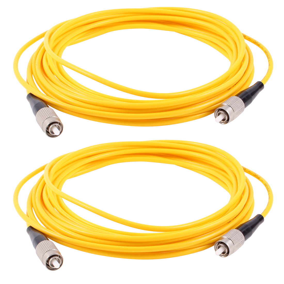 2 Pcs Simplex Singlemode FC to FC Fiber Optic Patch Jump Cable Yellow 3 Meters