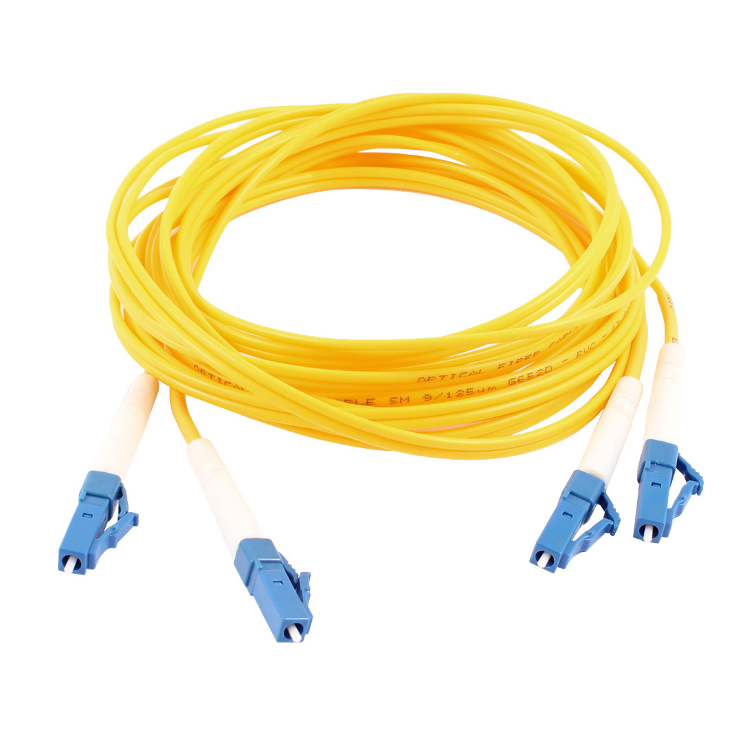 Duplex Single Mode 9/125 LC to LC Fiber Optic Patch Jump Cable Yellow 3 Meters