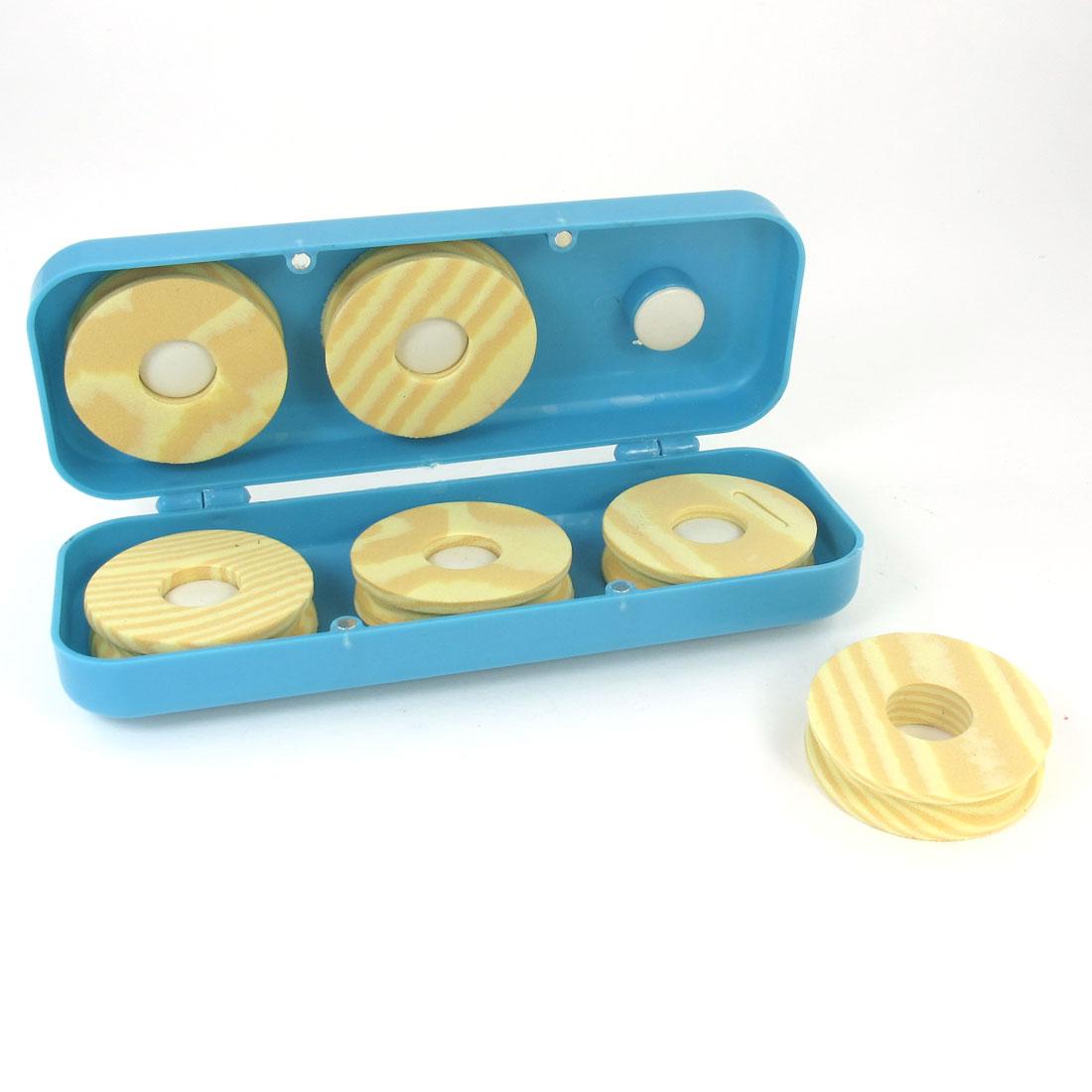 6 Pcs Beige Fishing Line Foam Roller Spool w Blue Plastic Rectangle Case