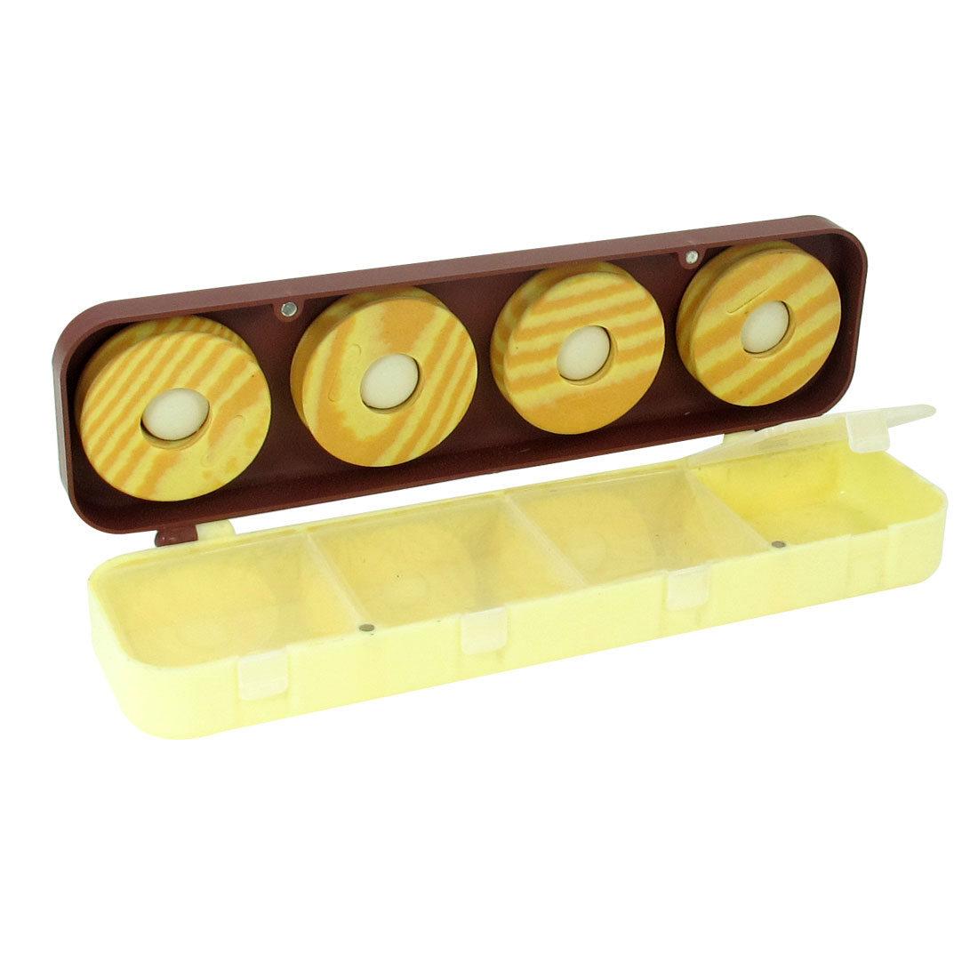 2 Layer 4 Compartments Fishing Utility Case w 4 Beige Fishing line Foam Spools
